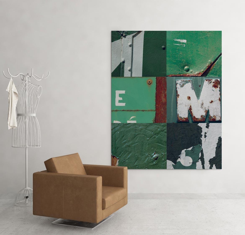 Mélange des matériaux vert dans un assemblage original en patchwork
