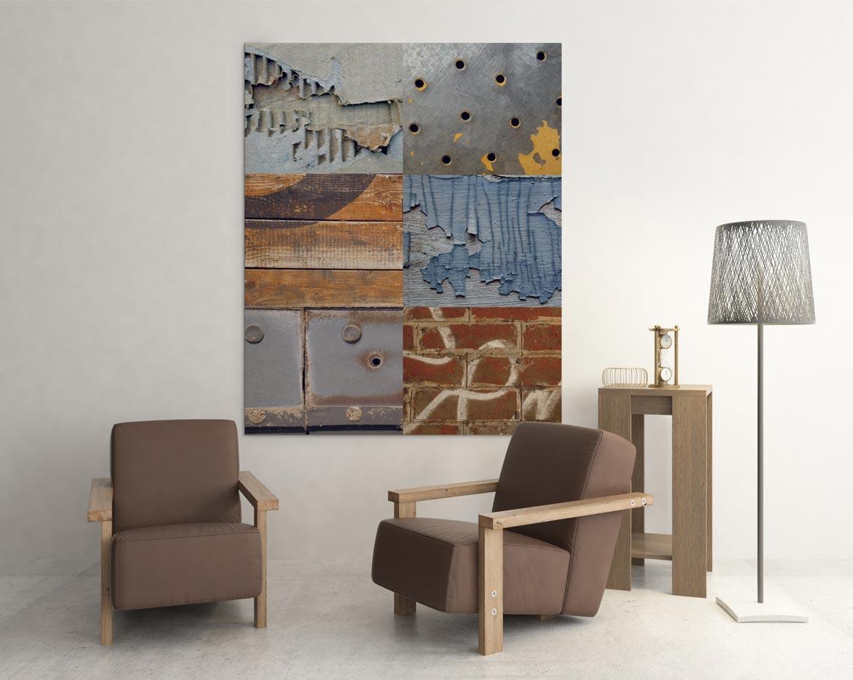 Mélange des matériaux dans un assemblage original en patchwork