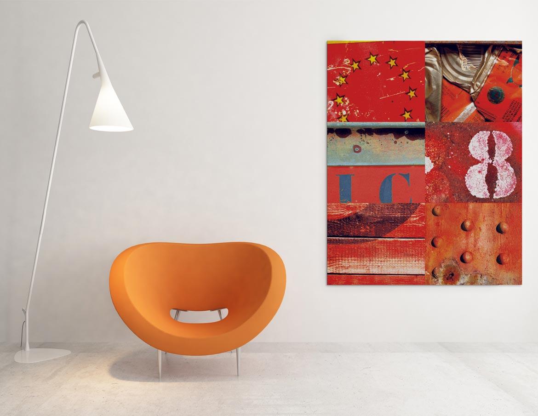 Mélange des matériaux rouge dans un assemblage original et retouche chromatique
