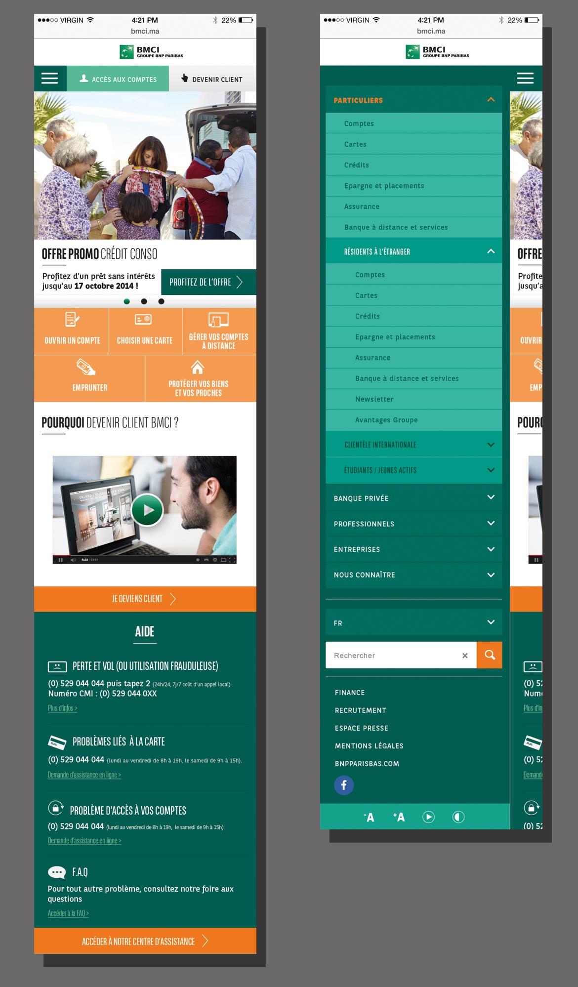 Visuel montrant des exemple de design d'écrans de la version mobile