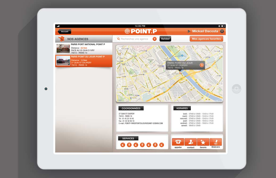 Design apps tactile iPad / client point.P