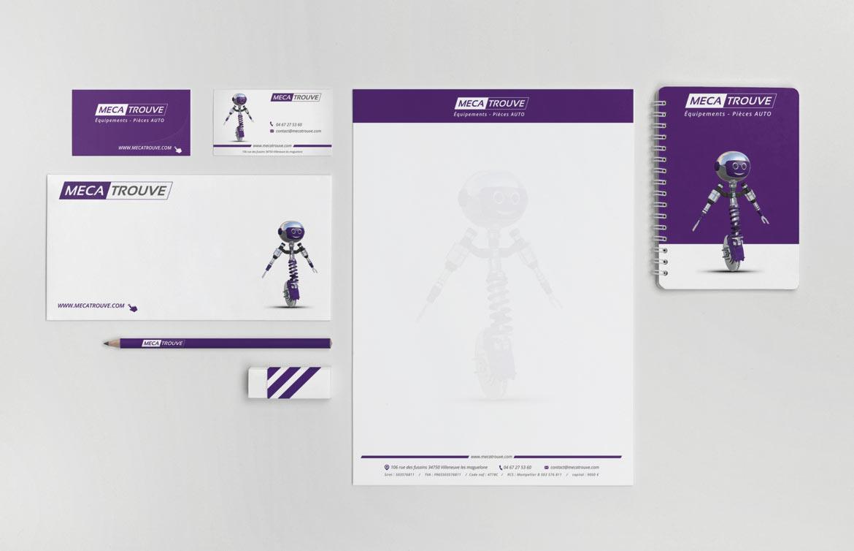 Déploiement de l'identité graphique MecaTrouve sur supports papier