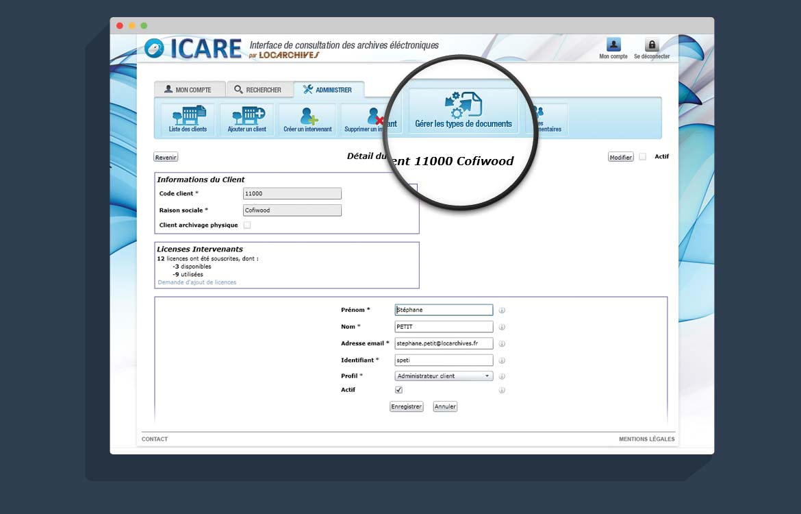 Zoom page int application web ICARE