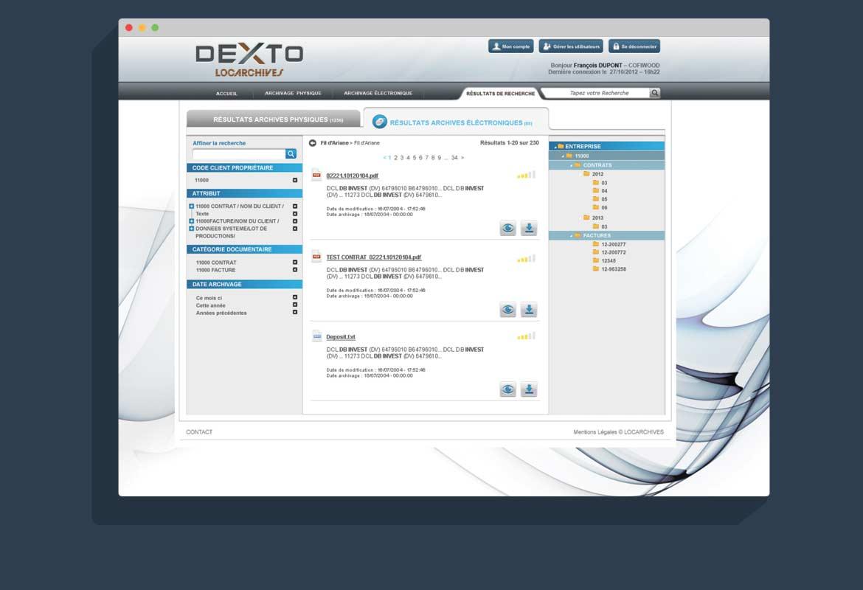 Design interface graphique Dexto : écran de résultats recherche archivage digitale