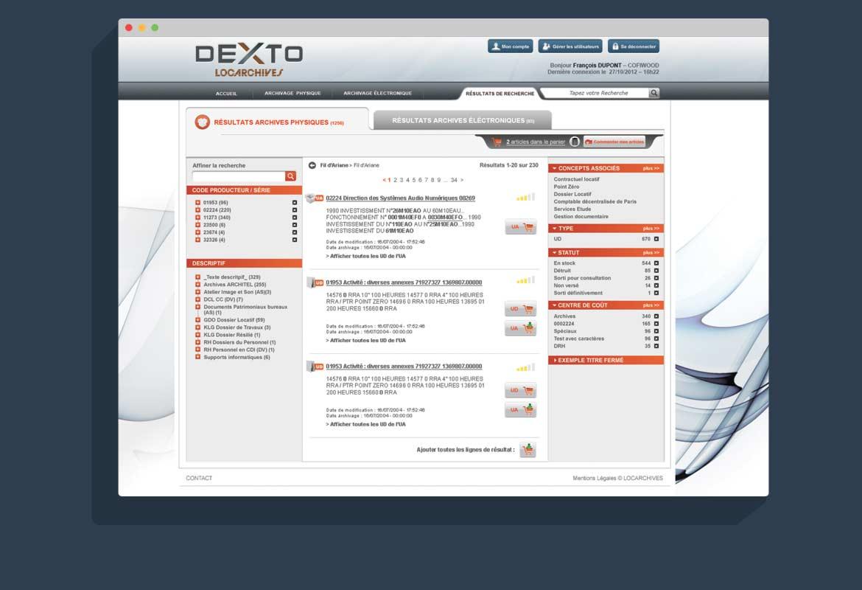 Design interface graphique Dexto : écran de résultats recherche archivage papier