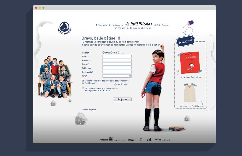 Design écran inscription Jeu Petit Nicolas