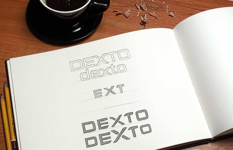 Etude au crayon, recherche typographique pour le logo Dexto
