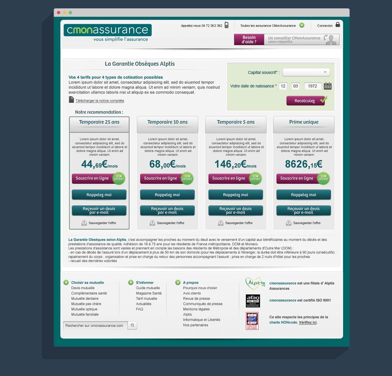 Design écran garantie obsèques | cmonassurance