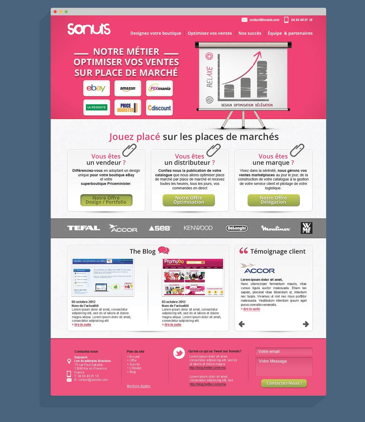 Maquette de la page d'accueil du site web Sonuts