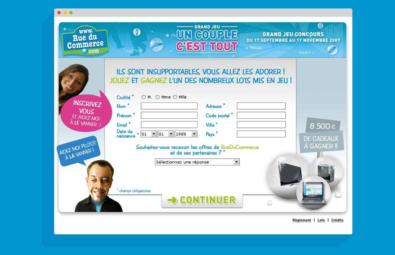 """Page d'inscription au jeu concours Rue du Commerce """"Un Couple C'est tout"""""""
