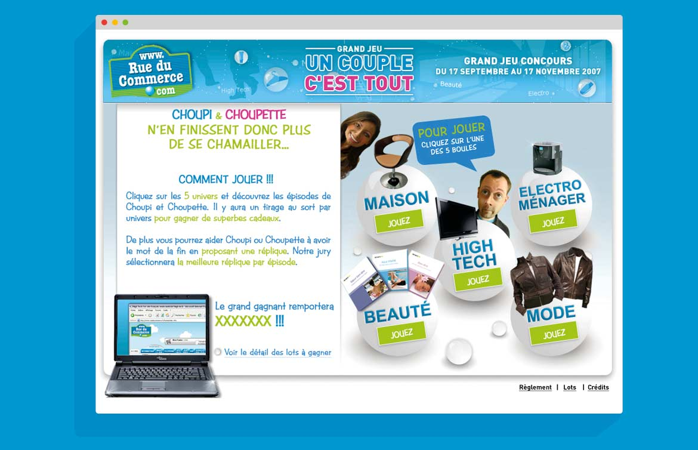 """Landing Page du site évènementiel Rue du Commerce """"Un Couple C'est tout"""""""