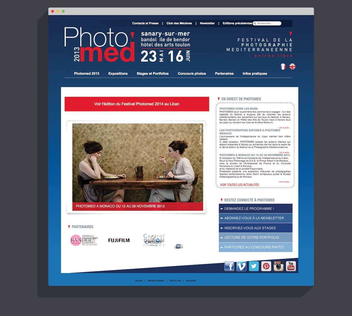 Home Page du site Festival Photomed
