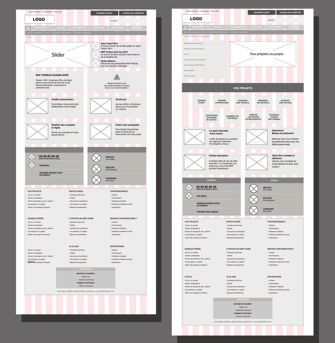 Image montrant des exemples de mockups des future écrans à designer