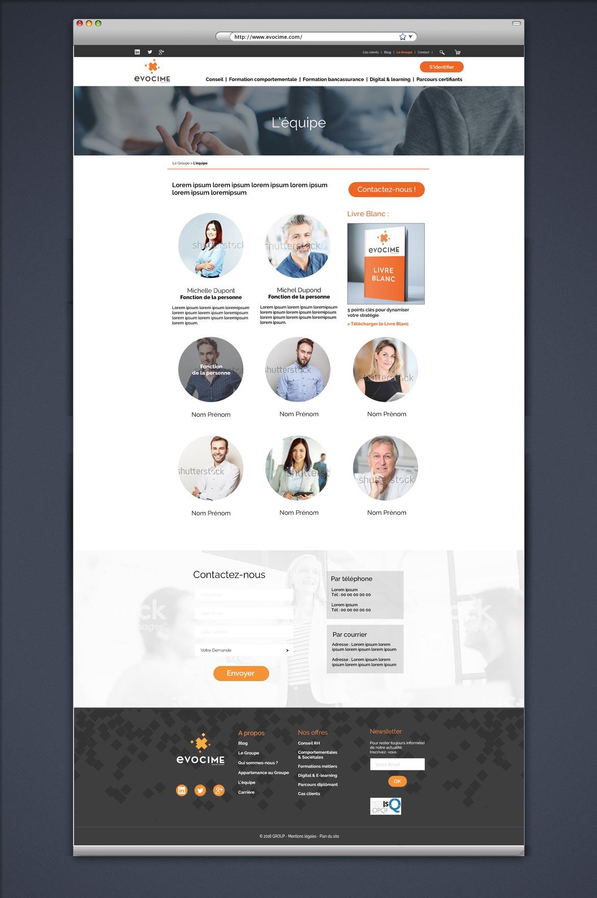 Visuel de la maquette graphique page équipe