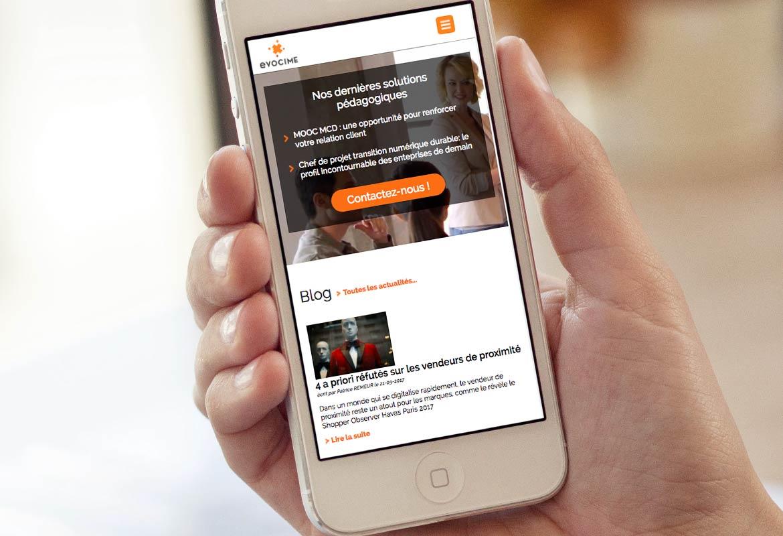 Version smartphone de la page d'accueil Evocime