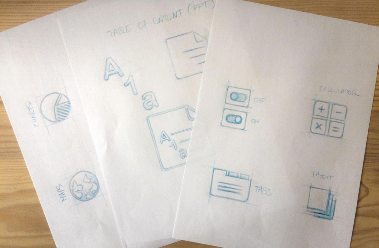 Visuel de la phase de recherches graphiques spontanées des icônes